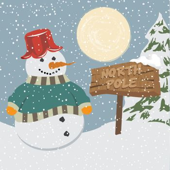 Vintage christmas poster with snowman