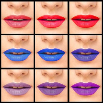 Collage close-up images of colorful woman lips