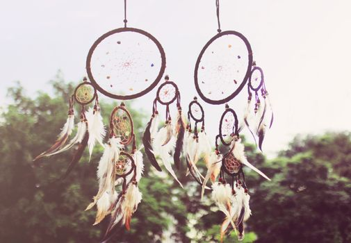 Traditional dreamcatcher with retro filter effect