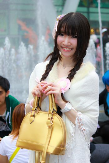 Bangkok - Aug 31: An unidentified Japanese anime cosplay pose  on August 31, 2014 at Central World, Bangkok, Thailand.