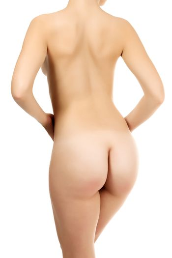 Naked female back, white background, isolated