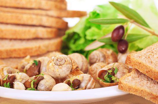 Tasty prepared escargot