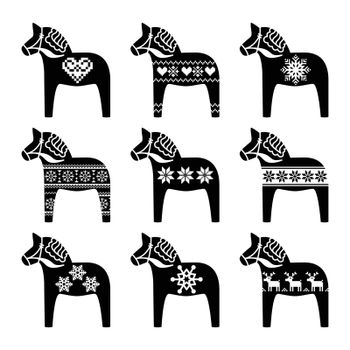 Swedish Dala, Dalecarlian horse with winter, Nordic pattern