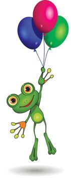 Illustration of a cartoon frog on balloons