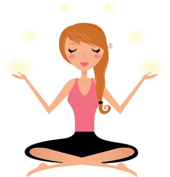 Perfect for marketing purposes. Meditating yoga girl with light around her. Enjoy for creative projects.
