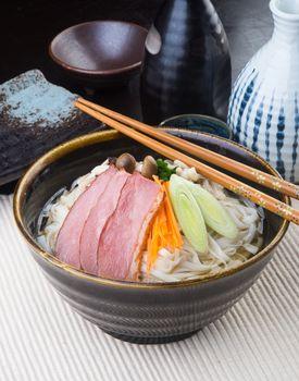 japanese cuisine. udon on the background