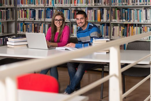 Young Students Using Their Laptop In A Library