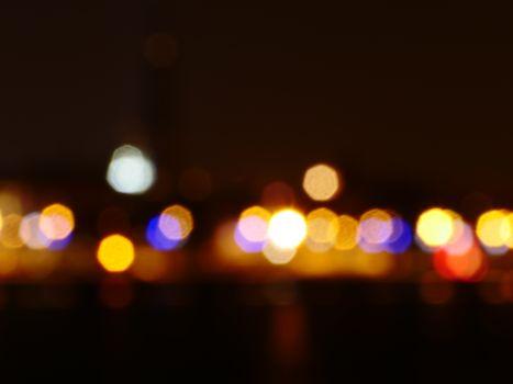blurred city at night, defocused lights art