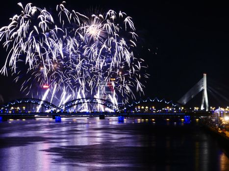 Fireworks in Big Eeuropean city Riga, Independence day