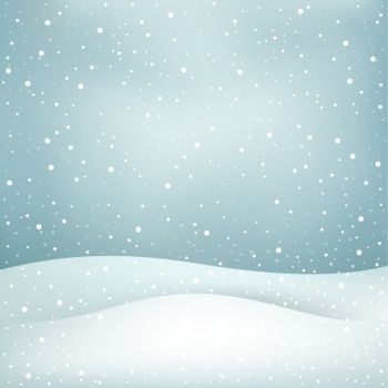 The winter snowfall, blue daytime sky and snowdrift Christmas background