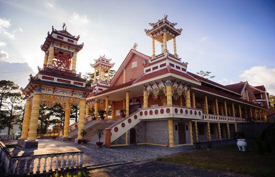 DALAT CITY - FEBRUARY 5: Du Sinh oriental catholic church at plateau in the afternoon February 5 2014 in Dalat city, Lamdong province, Vietnam.