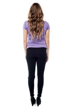 Full length beautiful girl from back