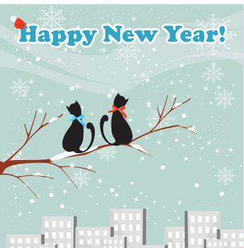 Merry Christmas! Postcard design with couple of  cats , Creative  greeting card design.  Vector illustration