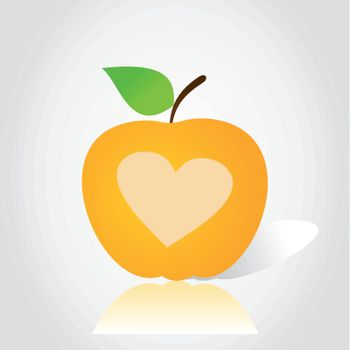 yellow Apple with a heart on white background