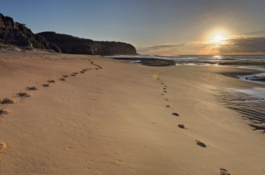 Turrimetta Beach sunrise with sundog halo