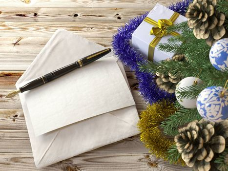 Christmas tree with gifts,pen and letter greetings holiday concept