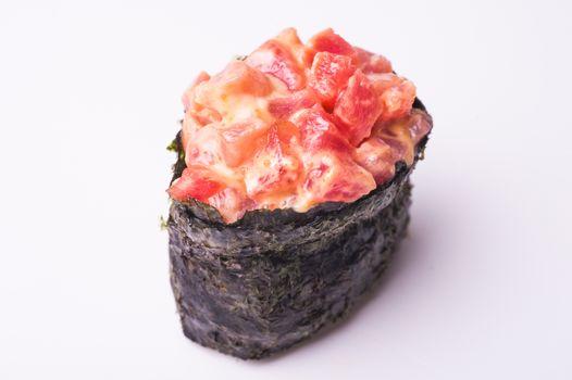 Salmon gunkan sushi isolated on white background
