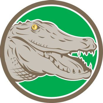 Alligator Head Snout Circle Retro