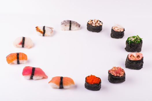 set of sushi  from different seafood isolated on white background