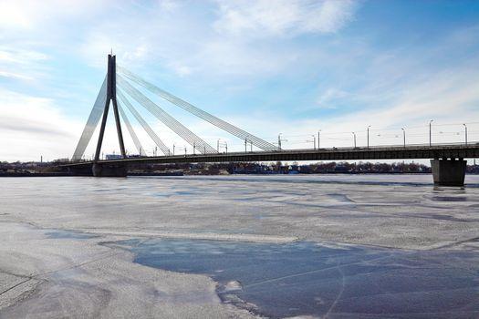 Bridge in Riga over the frozen Daugava river