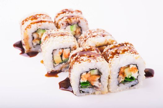 eel sushi roll isolated on white background