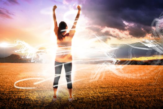 Composite image of cheering football fan
