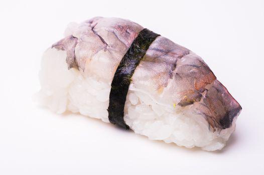 Ebi Nigiri prawn sushi isolated on white background