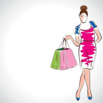 fashion women with shopping bag stock vector
