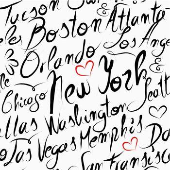 Travel USA destination cities seamless pattern