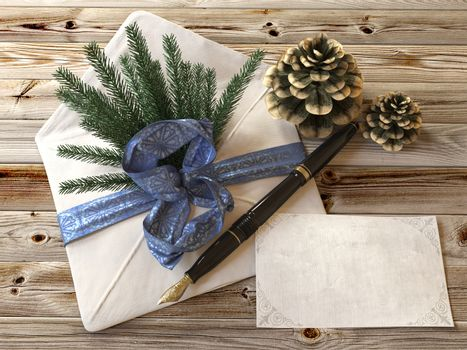 new Year tree with gifts,pen and letter greetings card holiday concept