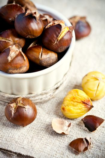 roasted chestnuts in bowl