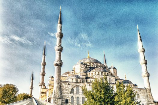The Blue Mosque on a beautiful sunny day, Istanbul.