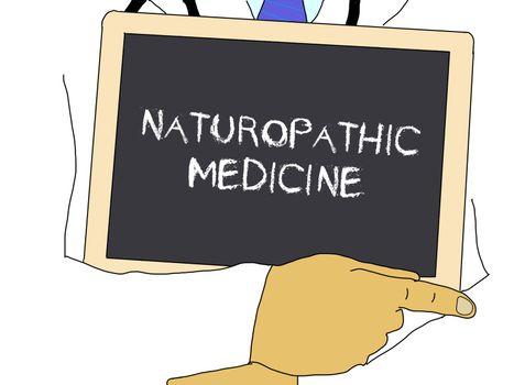 Illustration: Doctor shows information: naturopathic medicine