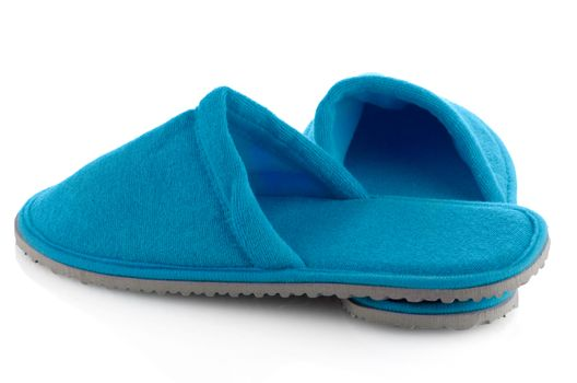 A pair of blue slippers