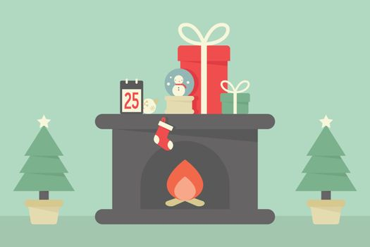 Christmas decoration with tree, fireplace and gifts