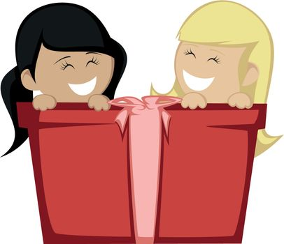 Two little girl (blonde and black haired) smiling with a big gift box.