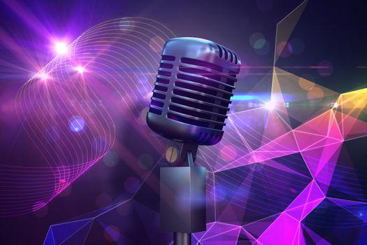 Composite image of retro chrome microphone