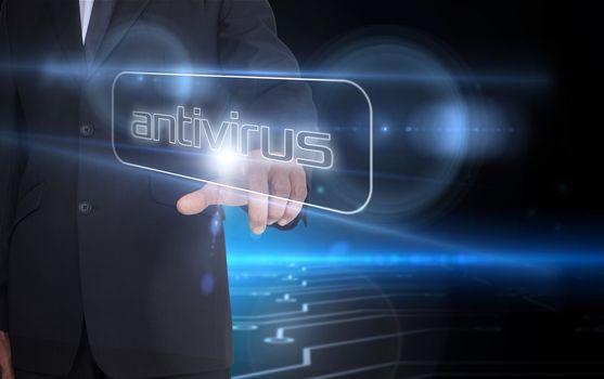 Businessman pointing to word antivirus