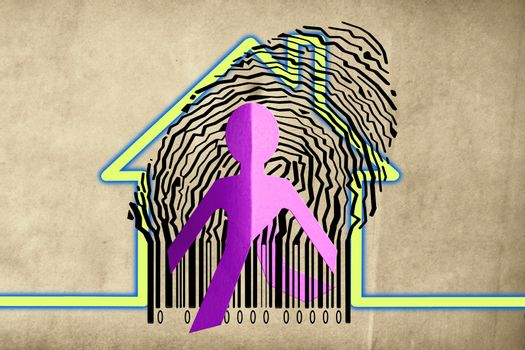 Paperman coming out of a bar code with Home Symbol