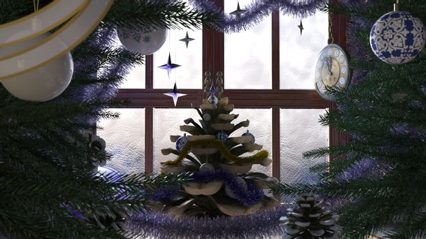 Christmas tree with pine cone,window and clock concept composition