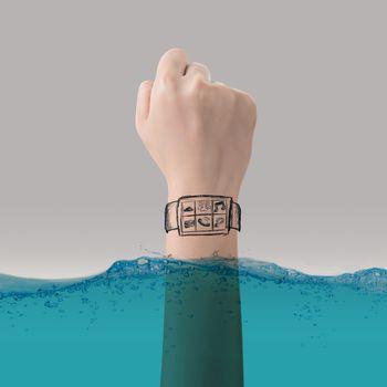 Smart watch concept of waterproof