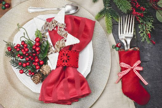Christmas stocking place settings with festive decorations