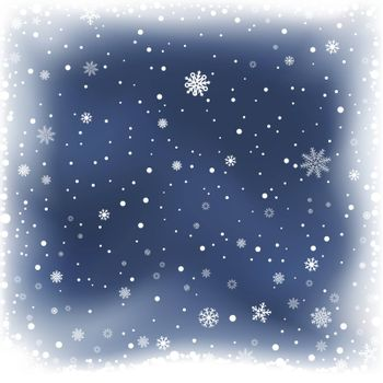 The falling snow and dark blue night winter background