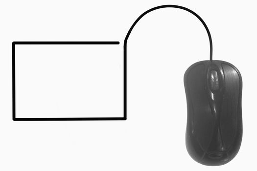 Blank screen depicted by computer mouse cable