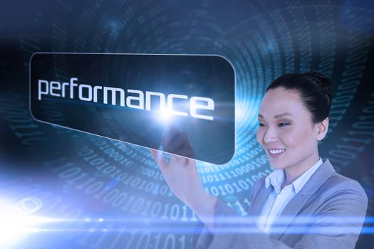 Businesswoman pointing to word performance