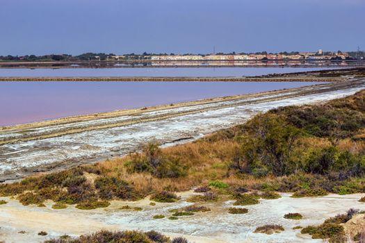 Salt evaporation ponds, Salin-de-Giraud, Camargue, France