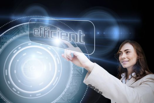 Businesswoman pointing to word efficient