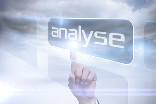 Businessman pointing to word analyse