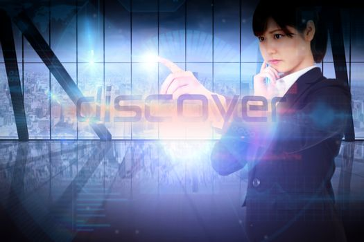 Businesswoman presenting the word discover
