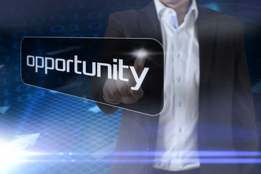 Businessman pointing to word opportunity